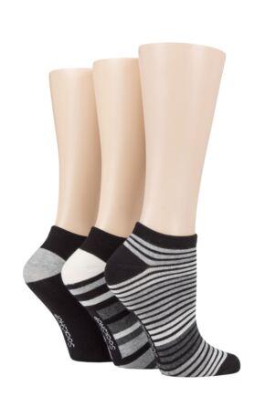 Ladies 3 Pair SOCKSHOP Striped, Plain, Ribbed and Mesh Bamboo Trainer Socks Black 4-8 Ladies