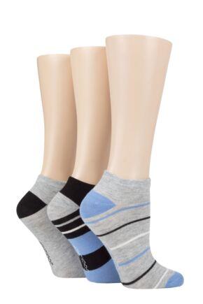 Ladies 3 Pair SOCKSHOP Striped, Plain, Ribbed and Mesh Bamboo Trainer Socks Grey / Cornflower 4-8 Ladies