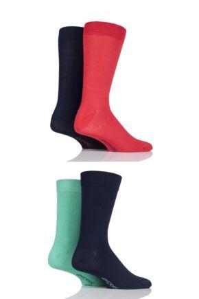 Mens 4 Pair SockShop Bamboo Socks with Smooth Toe Seams