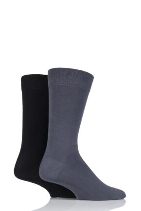 Mens 2 Pair SOCKSHOP Plain Bamboo Socks with Smooth Toe Seams Grey 6-11