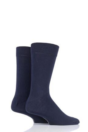 Mens 2 Pair SockShop Plain Bamboo Socks with Smooth Toe Seams