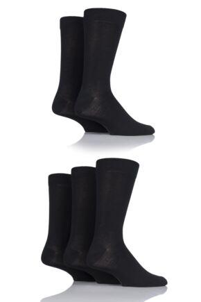 Mens 5 Pair SOCKSHOP Plain, Striped and Patterned Bamboo Socks Black Plain 7-11