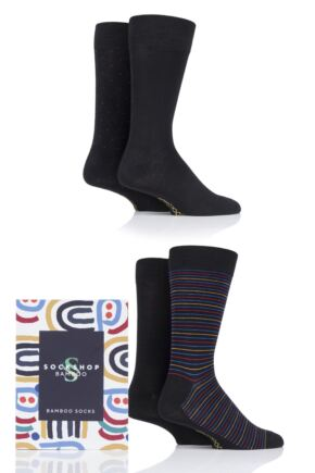 Mens 4 Pair SOCKSHOP Gift Boxed Bamboo Colour Burst Socks Black 7-11 Mens