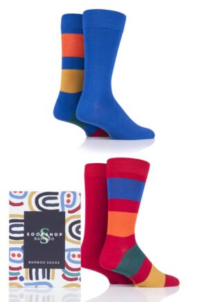Mens 4 Pair SOCKSHOP Gift Boxed Bamboo Colour Burst Socks Bright Stripe 7-11 Mens