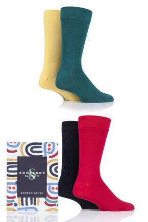 Mens 4 Pair SOCKSHOP Gift Boxed Bamboo Colour Burst Socks Classic 7-11 Mens