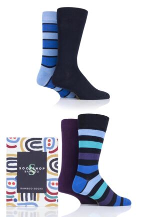 Mens 4 Pair SOCKSHOP Gift Boxed Bamboo Colour Burst Socks Jewel Star 7-11 Mens