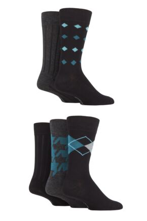 Mens 5 Pair SOCKSHOP Plain, Striped and Patterned Bamboo Socks Black Bright Geometric 7-11 Mens