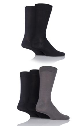 Mens 5 Pair SOCKSHOP Plain, Striped and Patterned Bamboo Socks Greys Plain 7-11