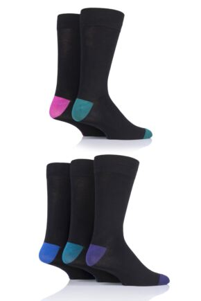 Mens 5 Pair SOCKSHOP Contrast Heel and Toe Bamboo Socks