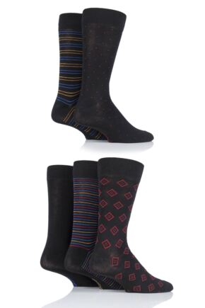 Mens 5 Pair SOCKSHOP Plain, Striped and Patterned Bamboo Socks Black Bright Pattern 7-11 Mens