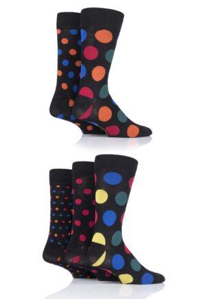 Mens 5 Pair SockShop Polka Dot Bamboo Socks