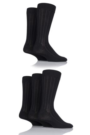 Mens 5 Pair SockShop Bamboo Ribbed Socks