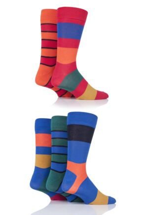 Mens 5 Pair SOCKSHOP Plain, Striped and Patterned Bamboo Socks