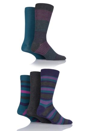 Mens 5 Pair SockShop Striped Bamboo Socks