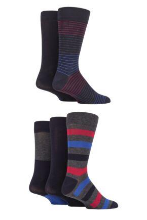 Mens 5 Pair SOCKSHOP Plain, Striped and Patterned Bamboo Socks Navy Stripe 7-11 Mens