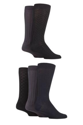 Mens 5 Pair SOCKSHOP Plain, Striped and Patterned Bamboo Socks Black Navy Grey Textured 7-11 Mens