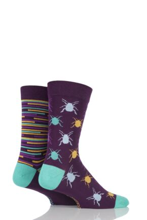Mens 2 Pair SockShop Beetles Patterned and Striped Bamboo Socks Purple 6-11