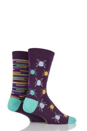 Mens 2 Pair SockShop Beetles Patterned and Striped Bamboo Socks Purple 12-14