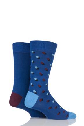 Mens 2 Pair SockShop Striped and Patterned Bamboo Socks
