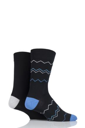 Mens 2 Pair SockShop Striped and Patterned Bamboo Socks sale sale Black 7-11