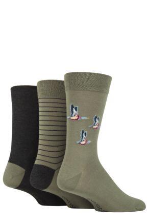 Men's 3 Pair SOCKSHOP Patterned, Striped and Heel & Toe Bamboo Socks