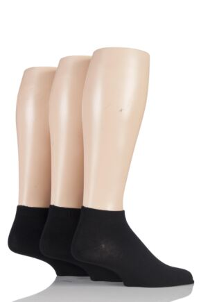 Mens 3 Pair SockShop Bamboo Trainer Socks Black 6-11