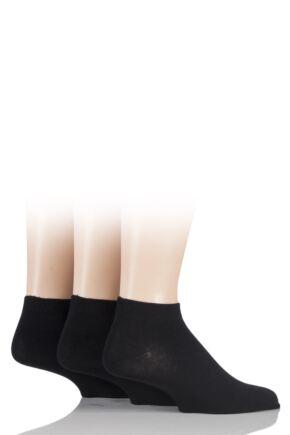 Mens 3 Pair SOCKSHOP Bamboo Trainer Socks with Smooth Toe Seams Black 12-14
