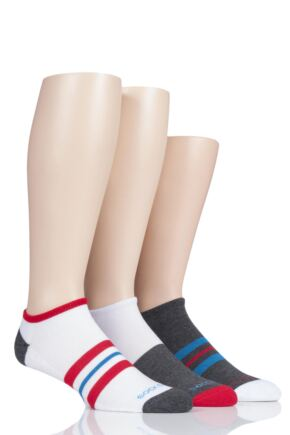 Mens 3 Pair SOCKSHOP Bamboo Cushioned Trainer Socks White Stripe 7-11 Mens