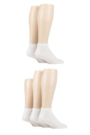 Mens 5 Pair SOCKSHOP Bamboo Striped and Plain Trainer Socks White 7-11 Mens