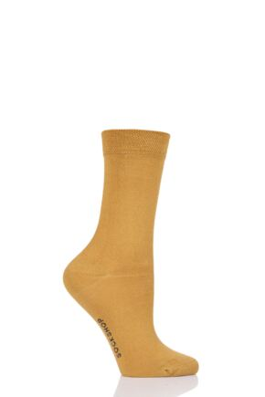 Ladies 1 Pair SOCKSHOP Colour Burst Bamboo Socks with Smooth Toe Seams Mellow Yellow 4-8 Ladies