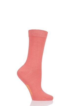 Ladies 1 Pair SockShop Colour Burst Bamboo Socks with Smooth Toe Seams Peaches And Cream 4-8 Ladies