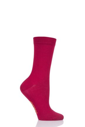 Ladies 1 Pair SOCKSHOP Colour Burst Bamboo Socks with Smooth Toe Seams Raspberry Beret 4-8 Ladies