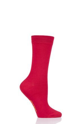 Ladies 1 Pair SOCKSHOP Colour Burst Bamboo Socks with Smooth Toe Seams Redder than Red 4-8 Ladies
