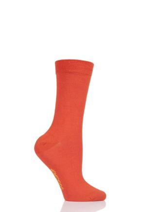 Ladies 1 Pair SockShop Colour Burst Bamboo Socks with Smooth Toe Seams Tangerine Dream 4-8 Ladies