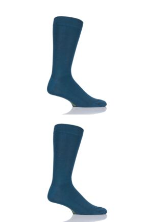 Mens and Ladies 2 Pair SockShop Plain and Striped Colour Burst Bamboo Socks with Smooth Toe Seams