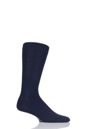 Mens 1 Pair SOCKSHOP Colour Burst Bamboo Socks with Smooth Toe Seams In The Navy 12-14