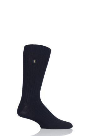 Mens 1 Pair SockShop Colour Burst Bamboo Ribbed Socks
