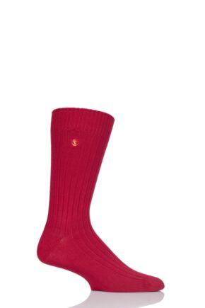 Mens 1 Pair SOCKSHOP Colour Burst Bamboo Ribbed Socks Redder Than Red 12-14