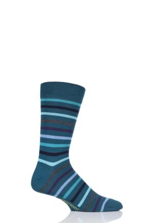 SockShop 1 Pair Striped Colour Burst Bamboo Socks with Smooth Toe Seams