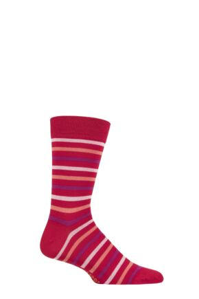 SOCKSHOP 1 Pair Striped Colour Burst Bamboo Socks with Smooth Toe Seams Little Red Corvette 12-14 Mens
