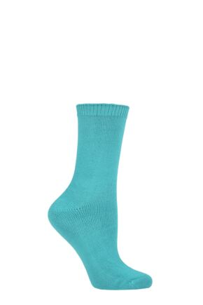 Ladies 1 Pair Lazy Panda Bamboo Socks Green 4-8 Ladies