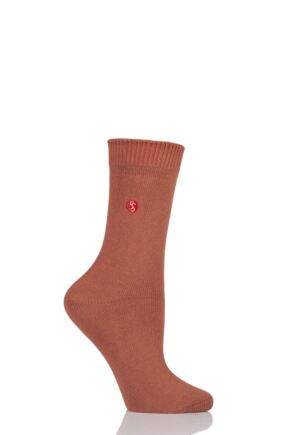 Ladies 1 Pair SockShop Colour Burst Cotton Socks with Smooth Toe Seams Burnt Orange 4-8 Ladies