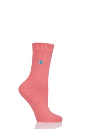 Ladies 1 Pair SOCKSHOP Colour Burst Cotton Socks with Smooth Toe Seams Coral 4-8