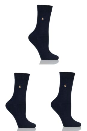 Ladies 3 Pair SockShop Colour Burst Cotton Socks with Smooth Toe Seams