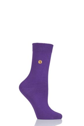 Ladies 1 Pair SockShop Colour Burst Cotton Socks with Smooth Toe Seams Orchid 4-8