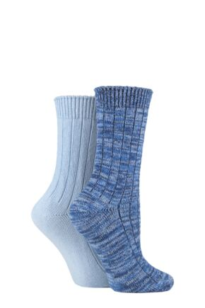 Ladies 2 Pair SOCKSHOP Chunky Rib Cotton Boot Socks