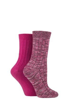 Ladies 2 Pair SOCKSHOP Chunky Rib Cotton Boot Socks