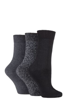 Ladies 3 Pair SOCKSHOP Plain Cotton and Lurex Boot Socks