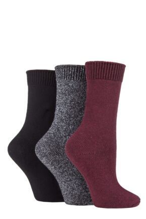 Ladies 3 Pair SOCKSHOP Plain Cotton and Lurex Boot Socks Beetroot 4-8 Ladies