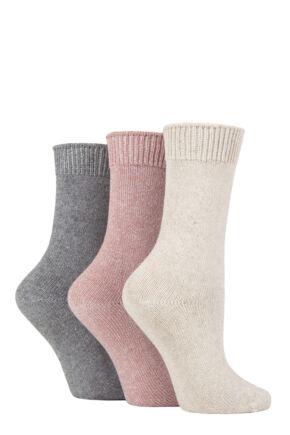 Ladies 3 Pair SOCKSHOP Plain Cotton and Lurex Boot Socks